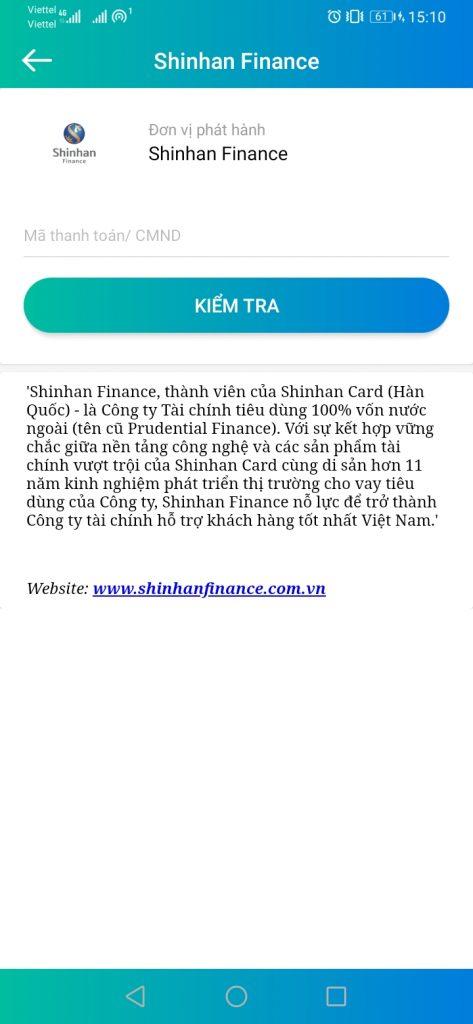 Thanh toán Shinhan Finance qua ứng dụng SmartPay