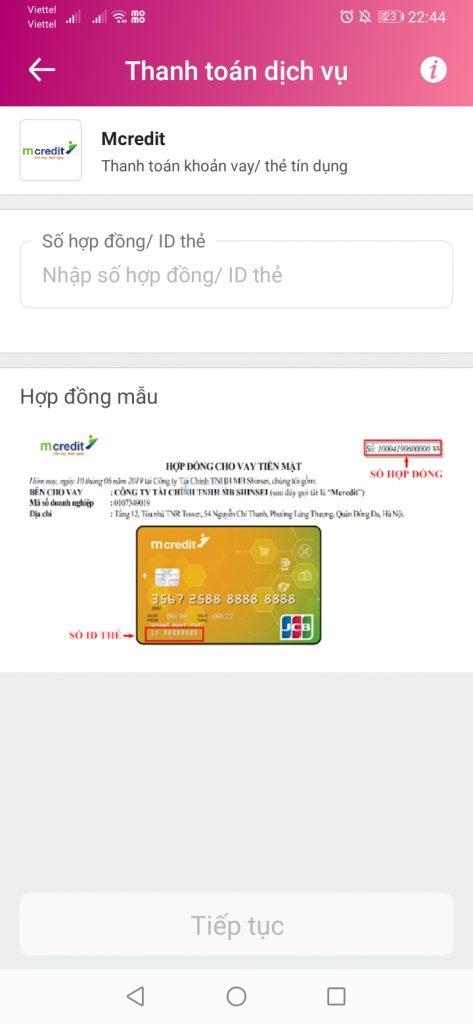 Thanh toán khoản vay MCredit qua Ví Momo