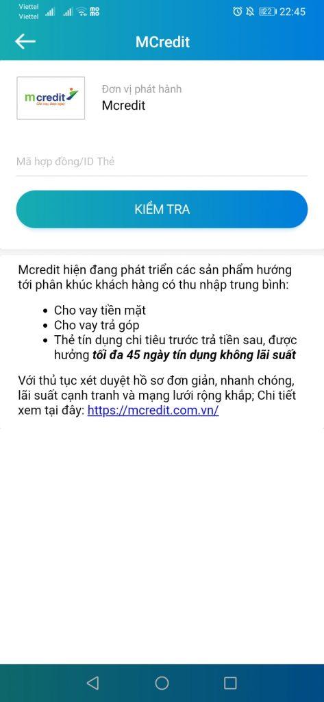 Thanh toán khoản vay MCredit bằng Ví ViettelPay