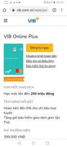 Đăng ký mở thẻ VIB Online Plus