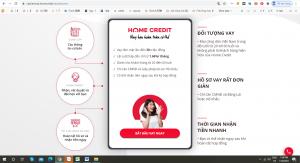 Hướng dẫn đăng ký vay tiền Home Credit bằng máy tính