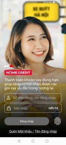 Đăng nhập vào ứng dụng HOME CREDIT