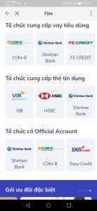 Danh sách Ngân Hàng & Công Ty Tài Chính liên kết cho vay tiền trên Fiza (ZALO)